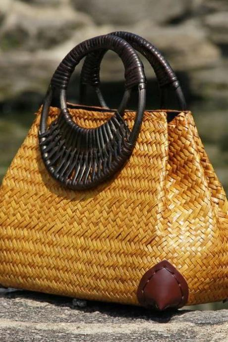 Handmade from Thailand Straw Bags with Bamboo Handle Unique and Durable Tote Bags High Quality Beach Bags