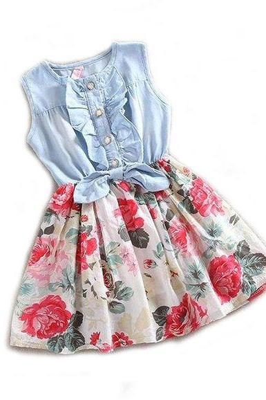 READY TO SHIP Floral Dress for Girls 6-9mos,9-12mos,12-24mos,2t,3t,4t Denim Tutus
