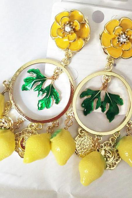 Baroque Fashion Runway Yellow Earrings for Women-Enamel Dangling Yellow Chandelier Earrings-Fruit Earrings