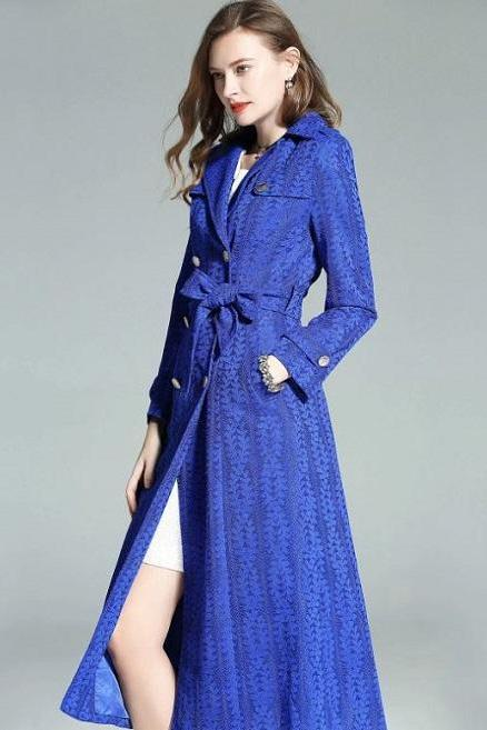 Rsslyn Royal Blue Trench Coats for Women Luxury Style Clothing for Elegant Women Free Designer Brooch