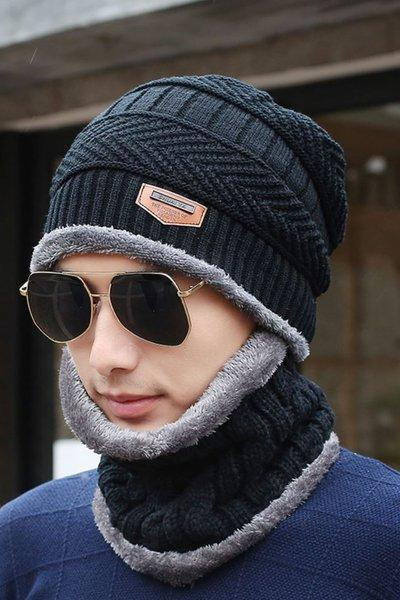 Black Hat for Men and Women Unisex Matching Black Scarf Thick and Warm