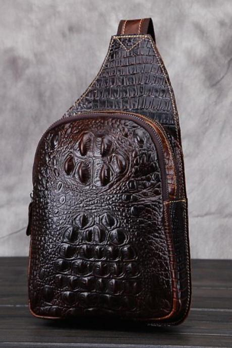 Embossed Alligator Brown Chest Packs for Men Alligator Leather Brown Bags