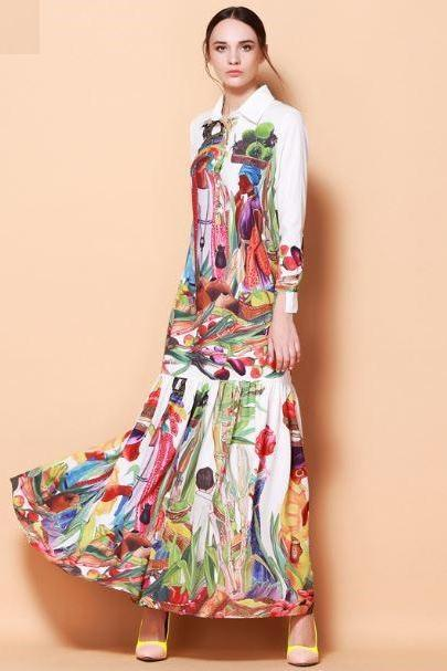 Vintage Dress Luxury Maxi Dress for Women Printed Building Oil Painting Style Straight Waist