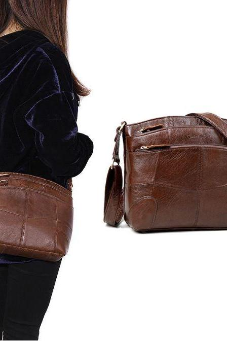 READY TO SHIP Brown Leather Bags for Women Triple Compartments
