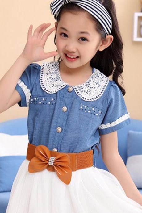 Denim Dress for Toddler Girls 5T Girls Fashion Dress Knee Length Adjustable Waist Via Belt