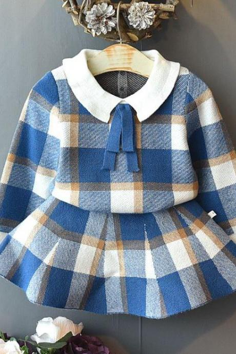 Beautiful Plaid Blue Sweater Printed Tops for Girls wit Free Plaid Headband-Baby Blue Skirts and Blue Blouses for Girls