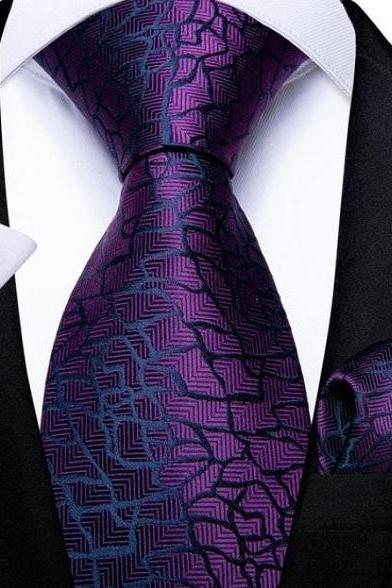 Rsslyn 3pcs/SET Legit Wedding Business Ties 100% Silk Crazed Purple Neckties for Men