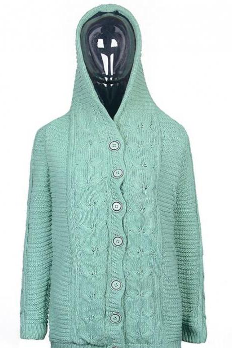 FREE Winter Hat for a Vintage Mint Green Cardigan with Super Smooth Faux Fur Lining Green Cotton