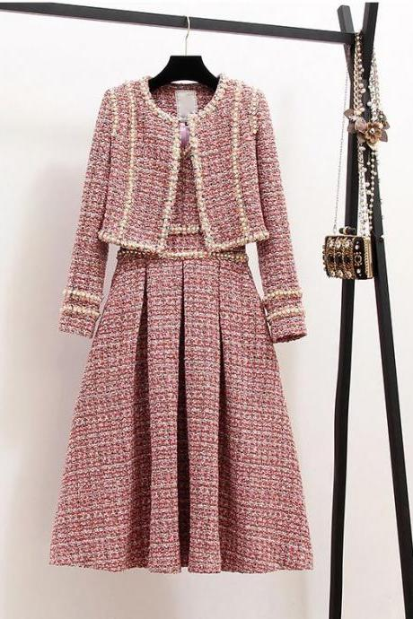 Pretty Pink Dress for Princesses with Twin Set Cropped Pink Cardigan for Women with Pearls Tweed Material