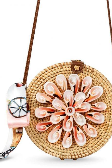 Beautiful Rattan Purses with Pretty Twirl Shells Free Shipping Rattan Bags for Women