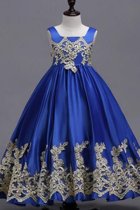 Royal Princess Dress Royal Blue Dress Big Ballgown Heavy Embroidery Laced Dress