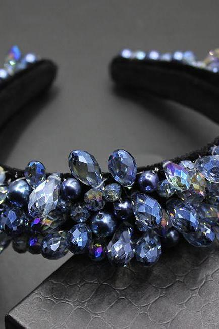New Top Quality Baroque Headband Gift Feminine Friendship Gifts for Women-Sapphire Blue Birthstone Color-All Match Navy Blue Color