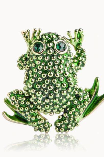 Free Shipping Green Frog Brooch for Women Mothers Day Gift