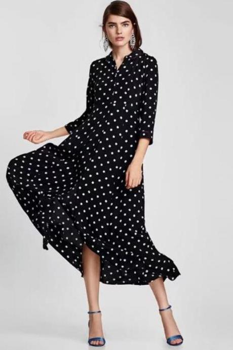 Polka Dots Maxi Dress for Women with peter Pan Collar Quarter Sleeves Polka Dots Dresses for Women Vintage Dress