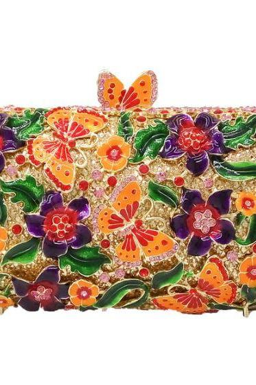 RSS Boutique FREE SHIPPING Hollow Crystals Butterfly Clutch Multicolor Clutch with FREE Golden Brooch