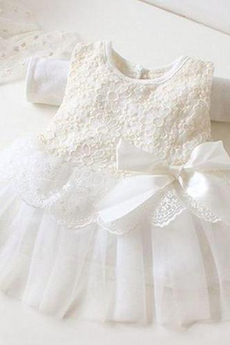 baptism dress newborn dress for 0-3 months ready to ship white christening dress with bow and FREE matching baby headband