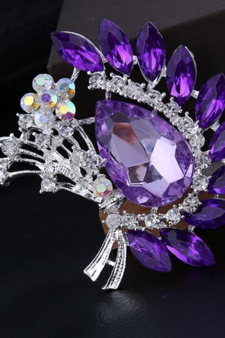 Purple Brooch Floral Faux Diamond Brooch Wedding Brooch