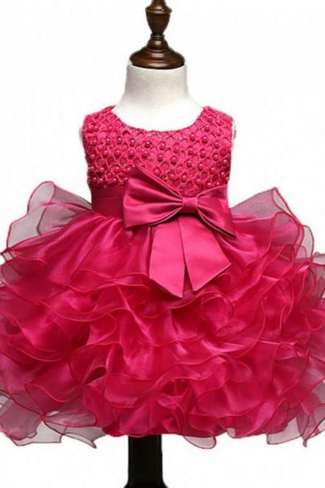 Super Cute Hotpink Baby Dress Christening Infant Dress Princess Fuller Tulle