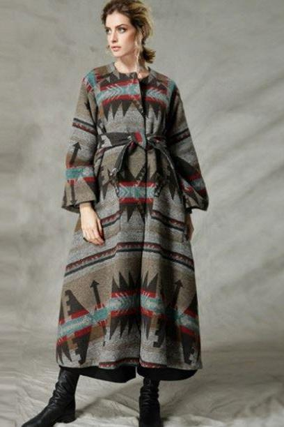 Fall Season Winter Season Wool Wraps for Women Vintage Ethnic Tribal Flare Loose Long Sleeve Maxi Wool Coat for Women