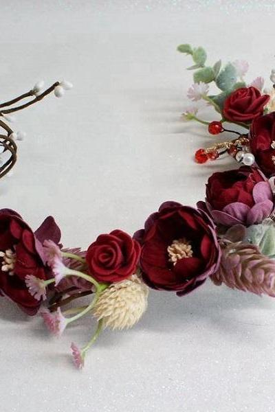 RSSLyn Bridal Flower Tiaras Silk Flower Wreath New Garden Wedding Red Motif Flower Girls Tiaras and Accessories