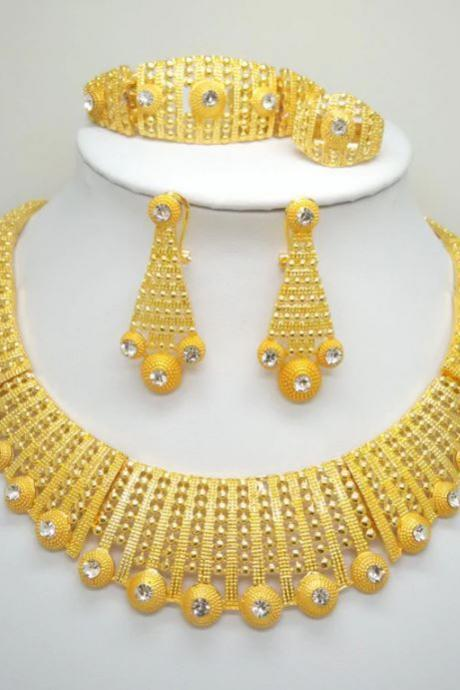 New Dubai Gold Jewelry Set 4pcs/SET Gold Plated Ring Gold Plated Necklace Gold Plated Bracelet Gold Plated Earrings