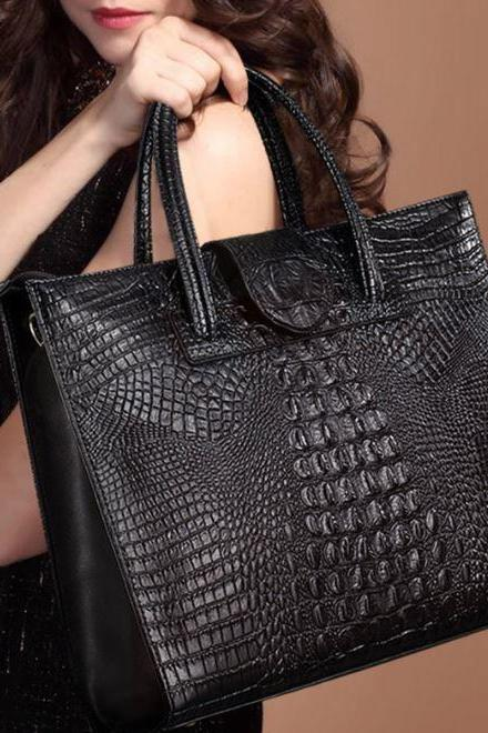 Computer Laptop Leather Black Bags with Alligator Design Black Leather Bags for Women Black Purse for Women
