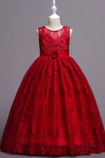 Floor Length Dresses Red Lacy Dress Embroidery Lace Collar Baby Girls Red Dress