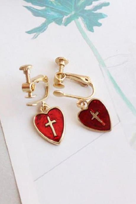 Cross Earrings Wholesale Women's Earrings Red Cross Earrings for Women- Fashion Novel Earrings-Minimalist Heart Earrings Dangling Earrings RCP39123