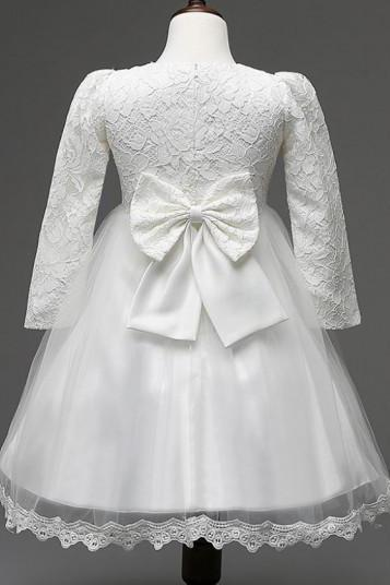 READY TO SHIP Christening Dress for Girls with FREE Bow Headband Long Sleeves Embroidery White Lacy Dresses