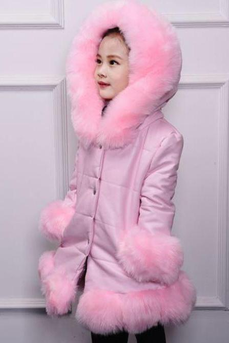 Top Coats for Princesses with Free Black Legging-Pink Parkas for Tween Girls-Faux Leather Jackets for Girls with Faux Fur
