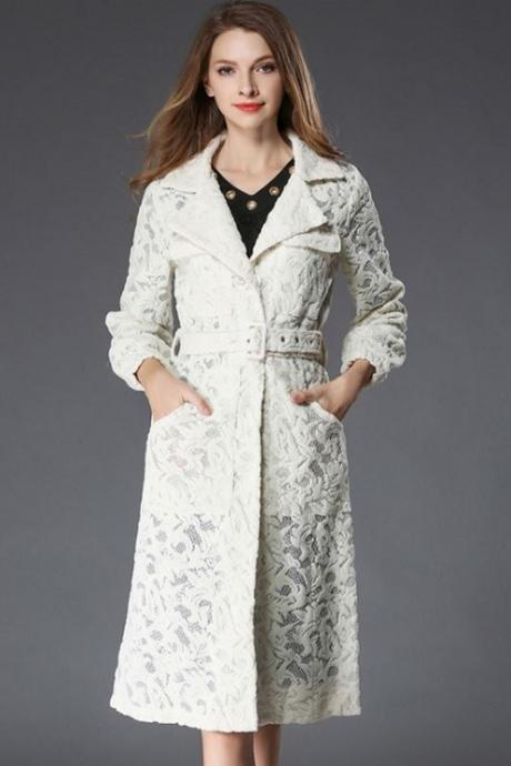 RSSLyn Limited Stock Elegant Trench Coats for Women Free Designer Brooch Off White Lace Trench Coats Spring Outfit