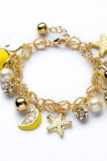 Yellow Bracelets for Women-Lemon Fruit All Match Yellow Color