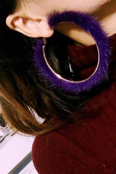 Purple Earrings for Women Mink Fur Fashion Unique Earrings Hoop Earrings for Women Purple Dangle Earrings