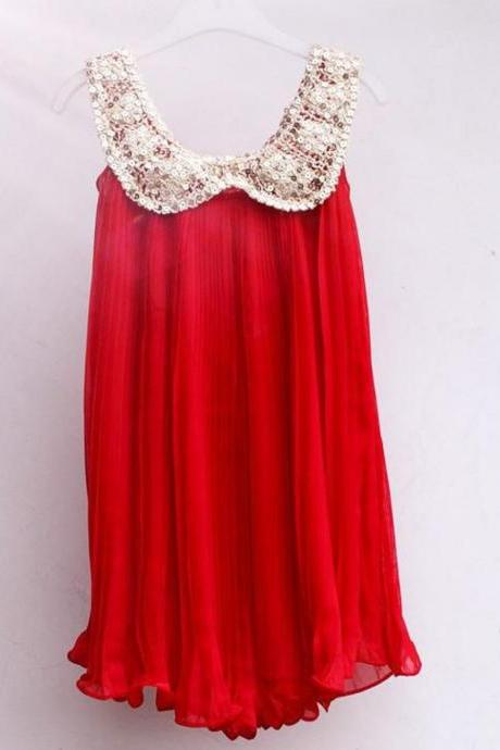 Red Dress for Girls with Golden Sequined Collar Sleeveless Girls Dresses