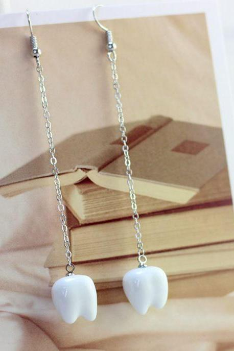 White Tooth Fun and Perfect Earrings for Dental Students White Teeth Earrings for Dentist