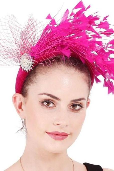 Hotpink Headdress for Women Hotpink Feather Hair Accessories for Girls-Fascinator Feathers and Crystal Jewelries