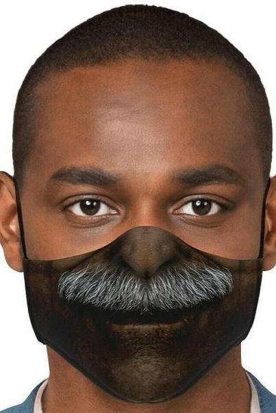 Rsslyn Creative Smiling Black Masks Beard Unisex Facemasks for All Gender and Color