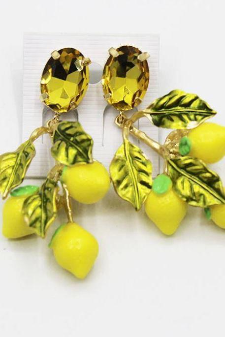 New Earrings for Women-Yellow Lemon Fruits for Jewelry Fashion Accessories-All Match Yellow Color-Glass Material Lemon Color