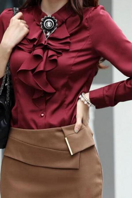 RSSLyn Burgundy Collared Blouse for Women is Now Ready for Shipping Ruffled Blouses Maroon Blouse for Women