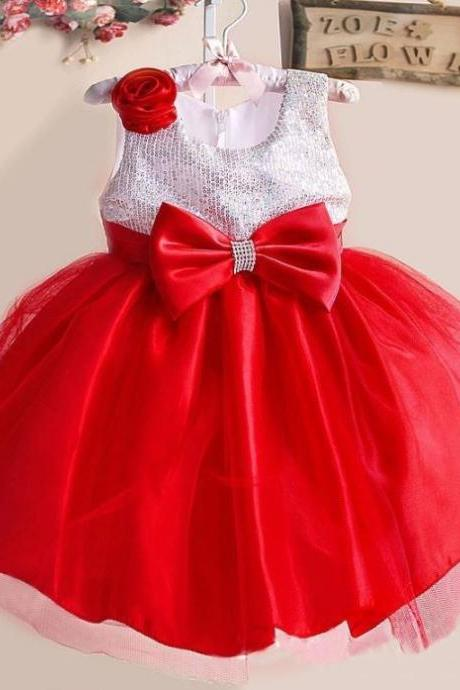 Red Ballgown Dress with Sequined Bodice Sleeveless Pretty Red Dress for Tween Girls with FREE Tiara