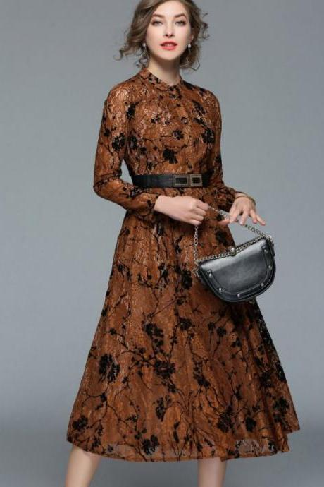 European Maxi Dress Fall Outfit Brown Maxi Dress for Women Modesty Fashion Dress Embroidery Laced Dress