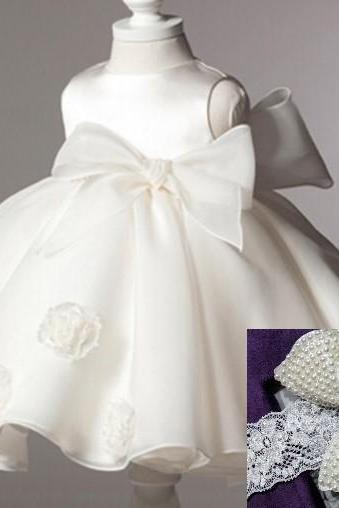 White Ballgown Dress Wedding Dress Flower Girls White Dress Newborn Christening Dresses with Matching Pearl Headband