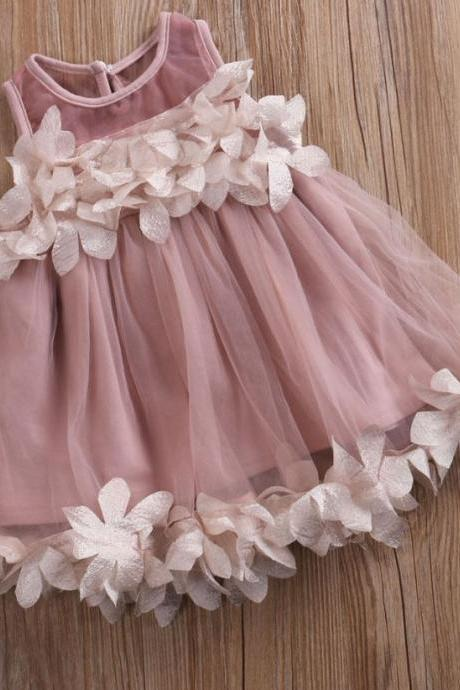 6-9 Mos Pink Toddler Girls Dresses Spring Dress Summer Dress for Girls Floral Hem Ruffled Dress Purplish Pink Dress FREE Headband