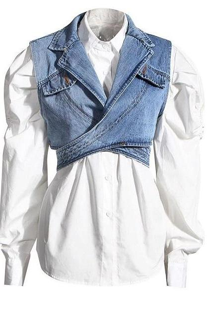 RSSLyn Modeling Denim Blouses for Women Fashion Denim Tops-Casual Tops for Women-Cropped Tops for Women-Loose Fitting Vests for Women-Adjustable Vests