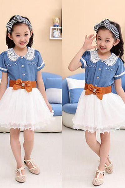 Cowgirl Dresses Denim Dress for Bigger Girls with Brown Wide Resizable Leather Belt Ready Free Shipping
