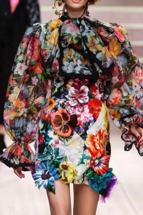 Floral Blouses for Women Turtleneck Blouses for Women Laces and Ruffles Vintage Style Open Ruffled Sleeves
