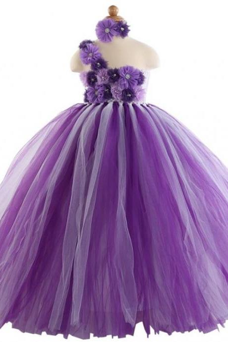 Purple Flower Dress For Little Flower Girls Purple Tutu Dress for 3T
