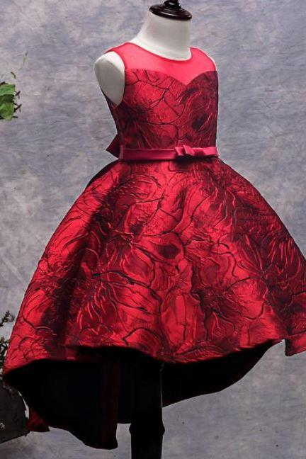 Formal Wear Dresses for Toddler Girls Burgundy Dresses with Jewelry Set for Girls