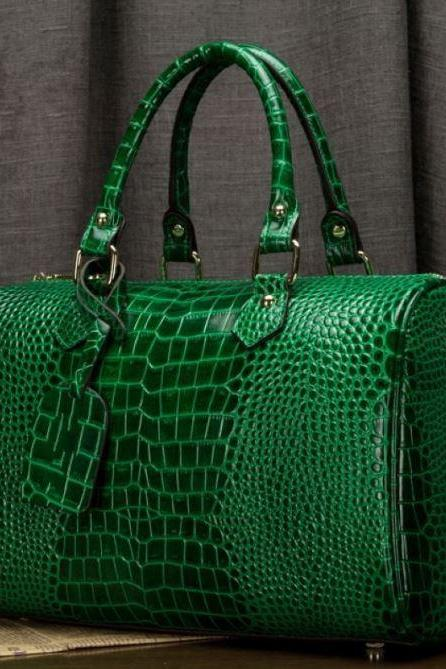Boston Bags Green Tote Bags Embossed Alligator Skin Leather Bags for Women with FREE Green Necklace