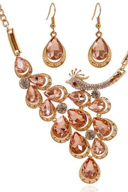 Champagne Color 2018 Jewelry Bridesmaids Jewelry Sets for Women Peacock Necklace with Earrings